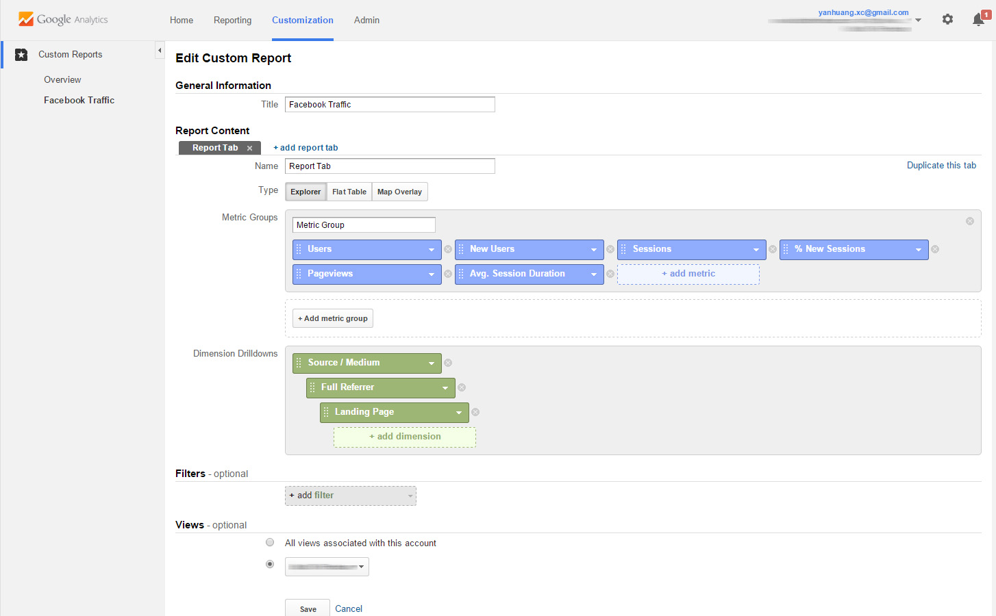 Google Analytics Custom Reports